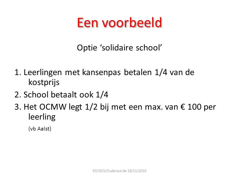Een voorbeeld Optie 'solidaire school' 1. Leerlingen met kansenpas betalen 1/4 van de kostprijs 2. School betaalt ook 1/4 3. Het OCMW legt 1/2 bij met