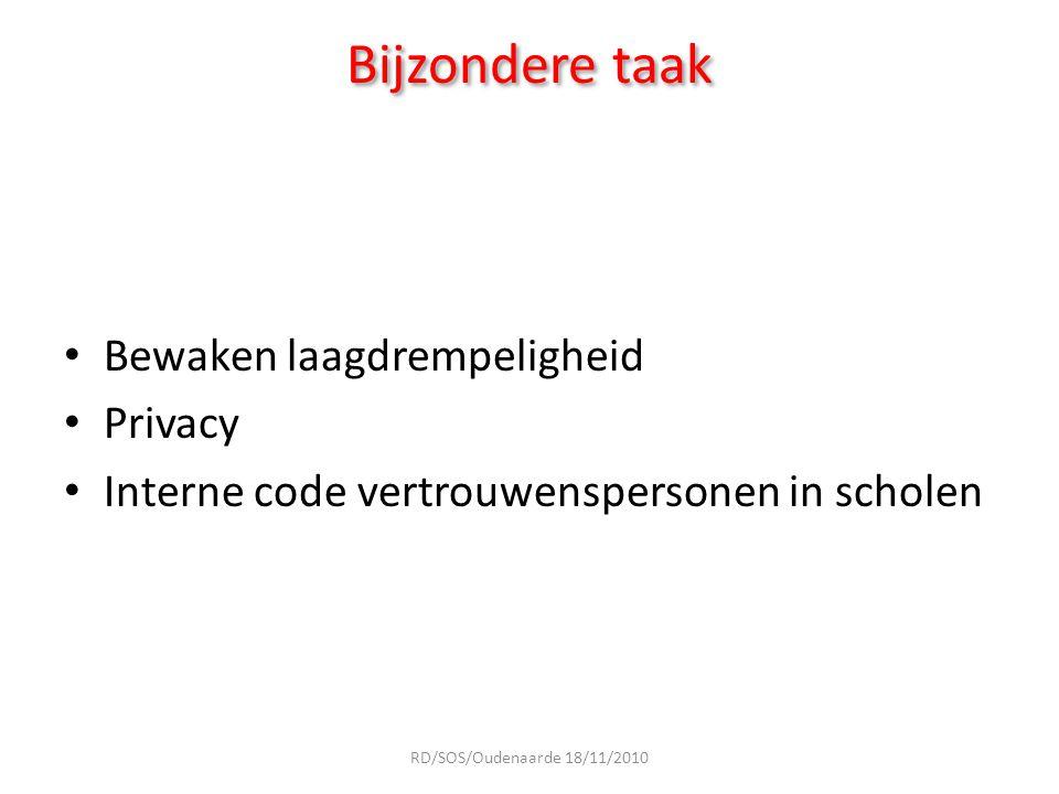 Bijzondere taak Bewaken laagdrempeligheid Privacy Interne code vertrouwenspersonen in scholen RD/SOS/Oudenaarde 18/11/2010