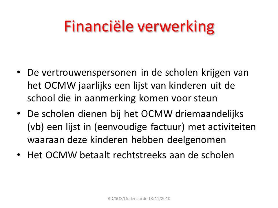 Financiële verwerking De vertrouwenspersonen in de scholen krijgen van het OCMW jaarlijks een lijst van kinderen uit de school die in aanmerking komen