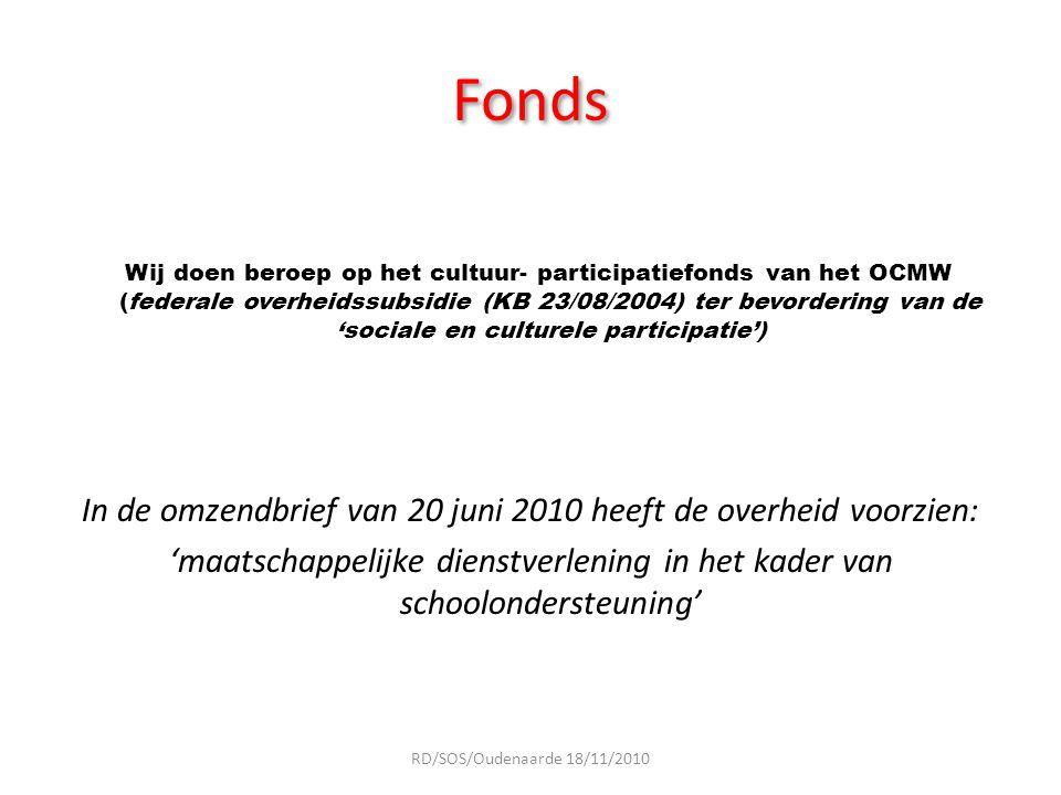 Fonds Wij doen beroep op het cultuur- participatiefonds van het OCMW (federale overheidssubsidie (KB 23/08/2004) ter bevordering van de 'sociale en cu