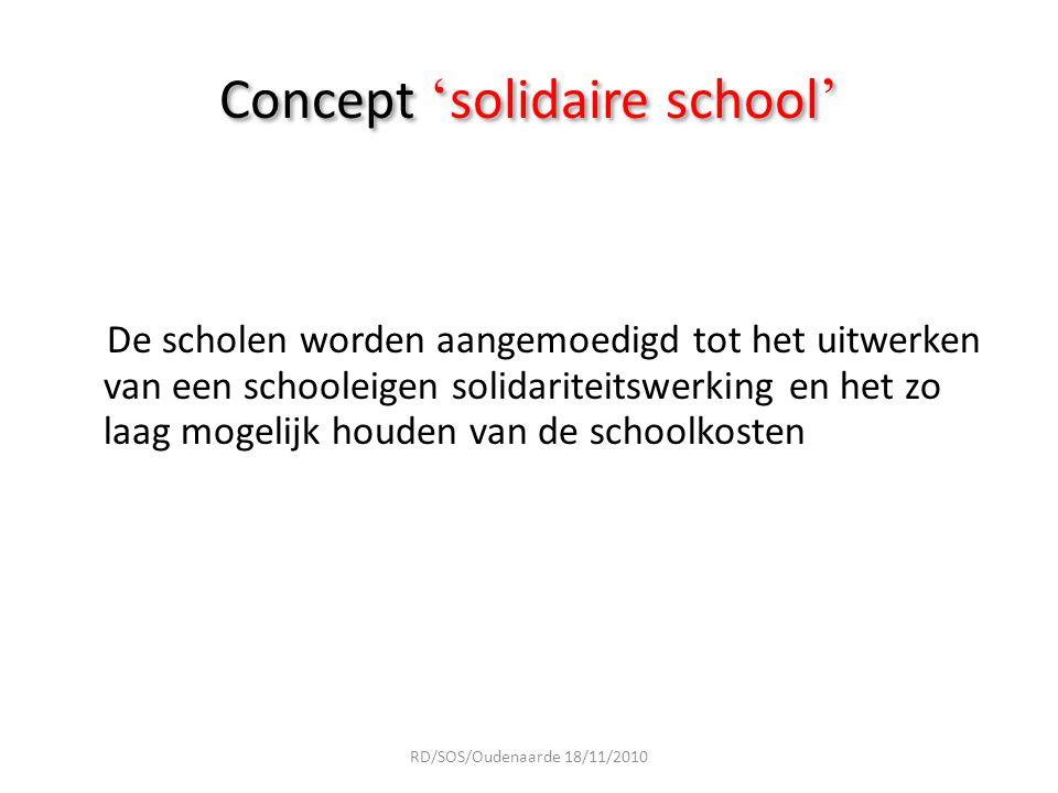 Concept ' solidaire school ' De scholen worden aangemoedigd tot het uitwerken van een schooleigen solidariteitswerking en het zo laag mogelijk houden