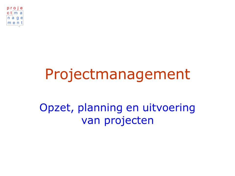 Projectmanagement Opzet, planning en uitvoering van projecten