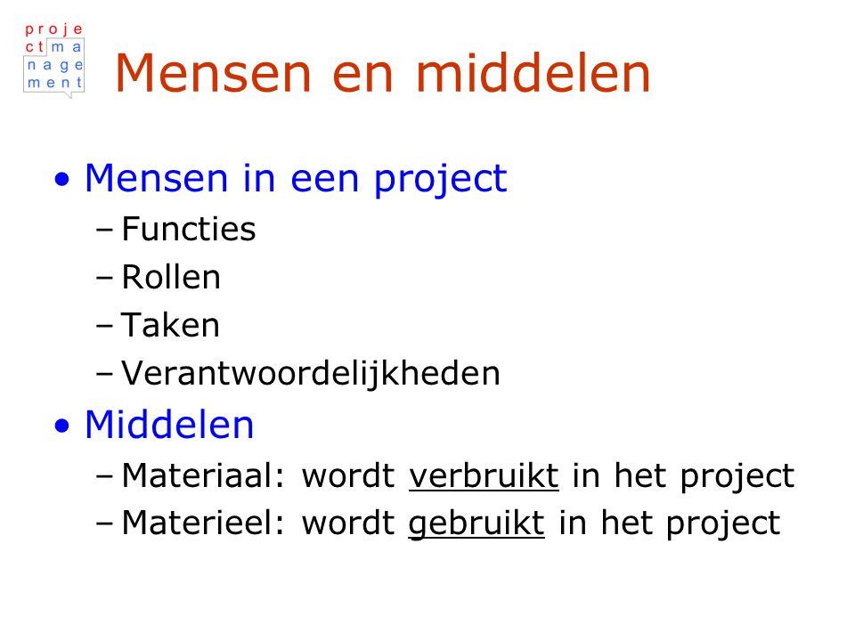 Mensen en middelen Mensen in een project –Functies –Rollen –Taken –Verantwoordelijkheden Middelen –Materiaal: wordt verbruikt in het project –Materieel: wordt gebruikt in het project
