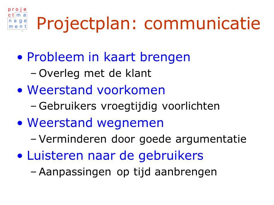 Projectplan: communicatie Probleem in kaart brengen –Overleg met de klant Weerstand voorkomen –Gebruikers vroegtijdig voorlichten Weerstand wegnemen –Verminderen door goede argumentatie Luisteren naar de gebruikers –Aanpassingen op tijd aanbrengen