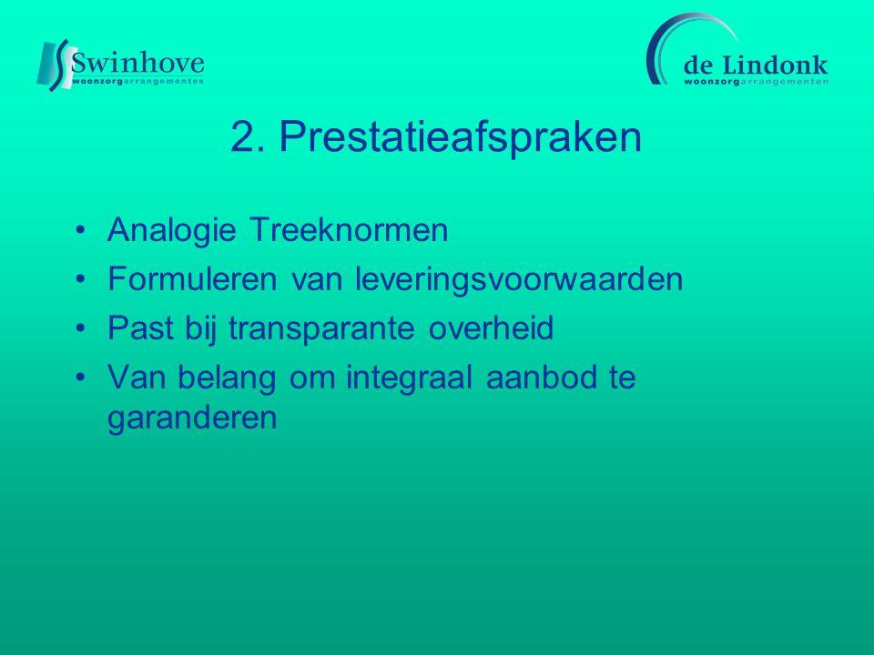 2. Prestatieafspraken Analogie Treeknormen Formuleren van leveringsvoorwaarden Past bij transparante overheid Van belang om integraal aanbod te garand