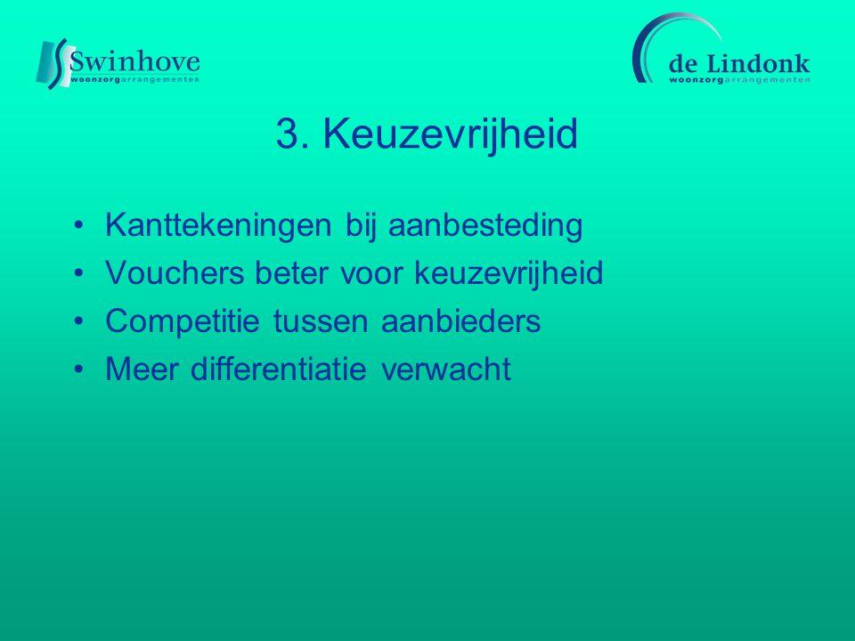 3. Keuzevrijheid Kanttekeningen bij aanbesteding Vouchers beter voor keuzevrijheid Competitie tussen aanbieders Meer differentiatie verwacht