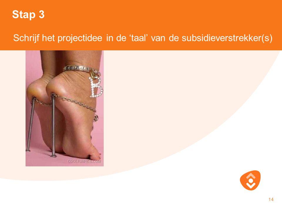 18-10-2010 14 Stap 3 Schrijf het projectidee in de 'taal' van de subsidieverstrekker(s)