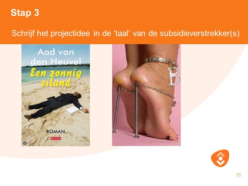 18-10-2010 15 Schrijf het projectidee in de 'taal' van de subsidieverstrekker(s) Stap 3 Schrijf het projectidee in de 'taal' van de subsidieverstrekke