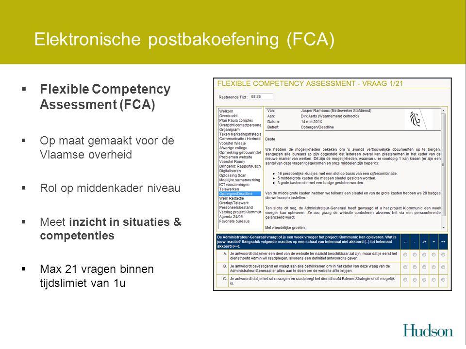 Elektronische postbakoefening (FCA)  Flexible Competency Assessment (FCA)  Op maat gemaakt voor de Vlaamse overheid  Rol op middenkader niveau  Meet inzicht in situaties & competenties  Max 21 vragen binnen tijdslimiet van 1u