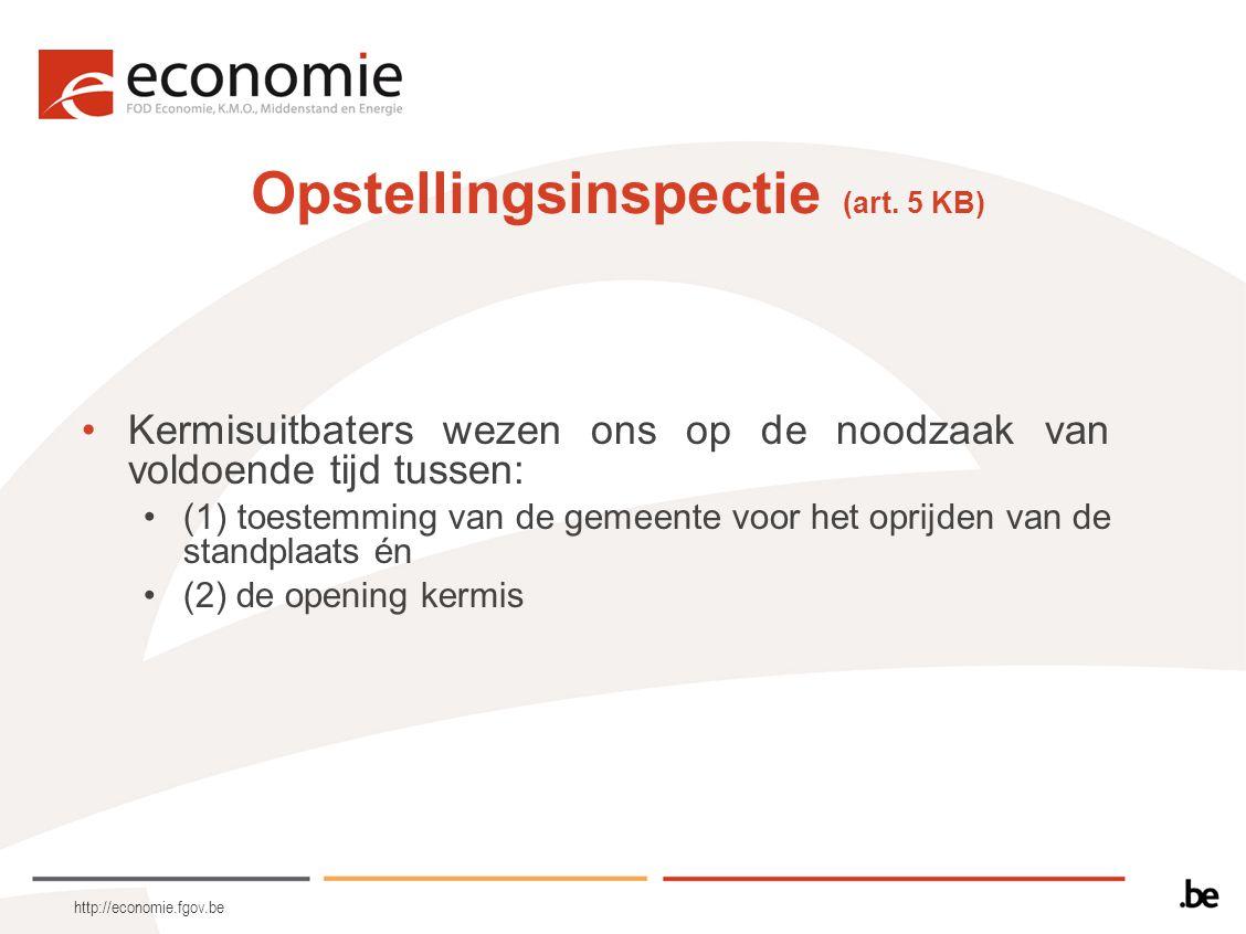 http://economie.fgov.be Opstellingsinspectie (art. 5 KB) Kermisuitbaters wezen ons op de noodzaak van voldoende tijd tussen: (1) toestemming van de ge