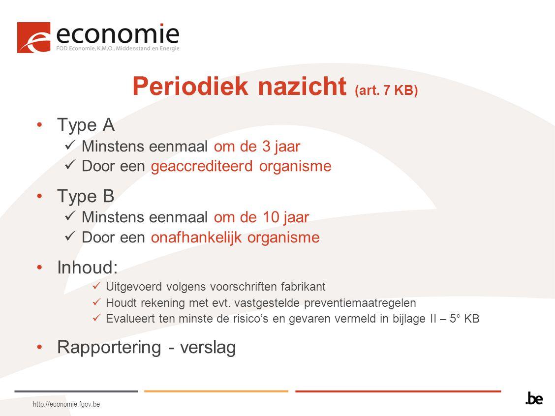 http://economie.fgov.be Periodiek nazicht (art. 7 KB) Type A Minstens eenmaal om de 3 jaar Door een geaccrediteerd organisme Type B Minstens eenmaal o