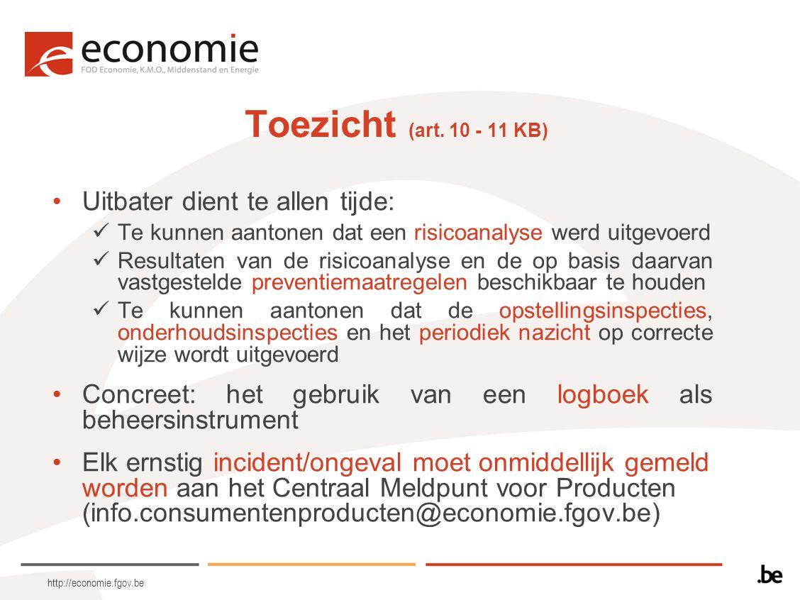 http://economie.fgov.be Toezicht (art. 10 - 11 KB) Uitbater dient te allen tijde: Te kunnen aantonen dat een risicoanalyse werd uitgevoerd Resultaten