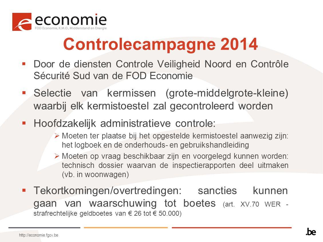 http://economie.fgov.be Controlecampagne 2014  Door de diensten Controle Veiligheid Noord en Contrôle Sécurité Sud van de FOD Economie  Selectie van