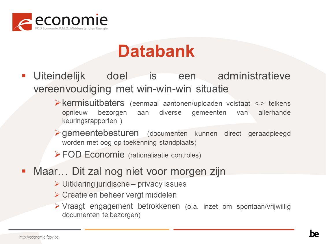 http://economie.fgov.be Databank  Uiteindelijk doel is een administratieve vereenvoudiging met win-win-win situatie  kermisuitbaters (eenmaal aanton