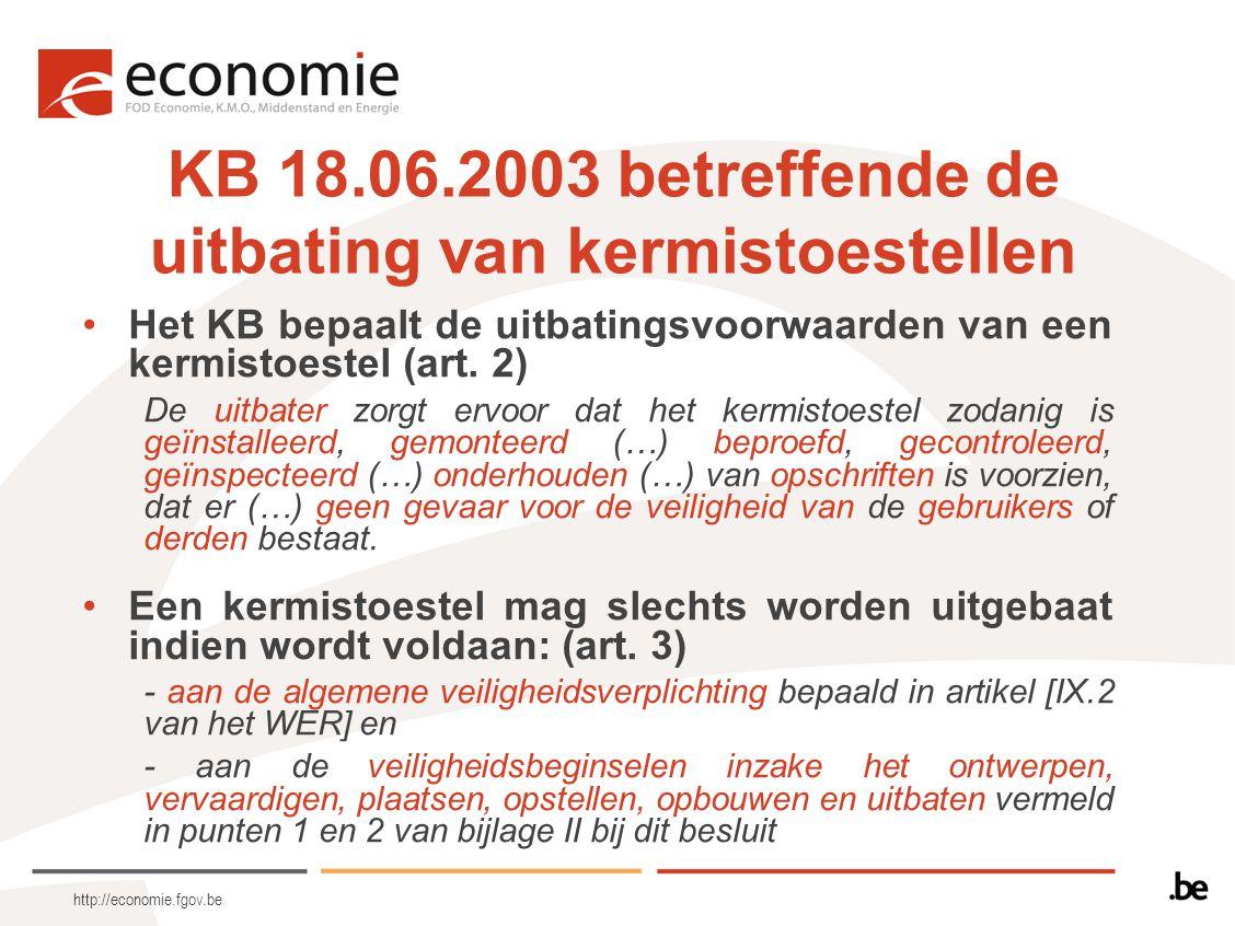 http://economie.fgov.be KB 18.06.2003 betreffende de uitbating van kermistoestellen Het KB bepaalt de uitbatingsvoorwaarden van een kermistoestel (art