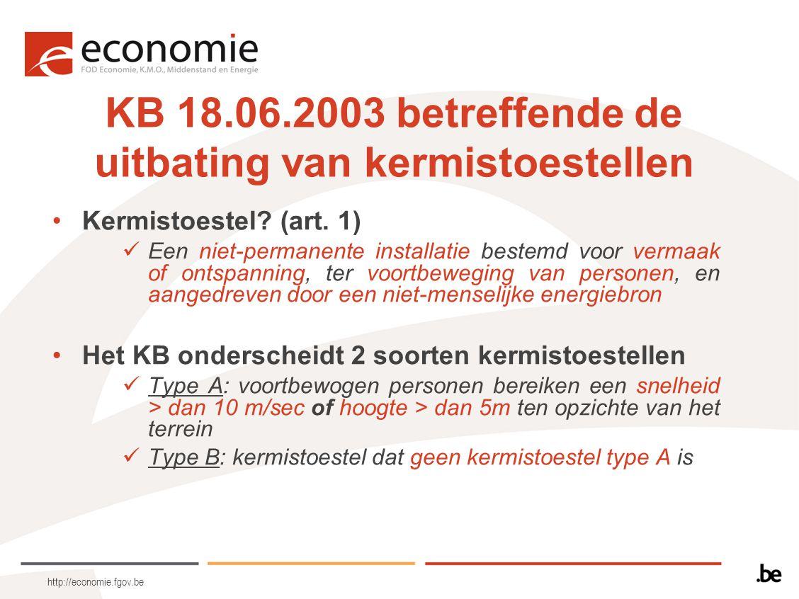 http://economie.fgov.be KB 18.06.2003 betreffende de uitbating van kermistoestellen Kermistoestel? (art. 1) Een niet-permanente installatie bestemd vo