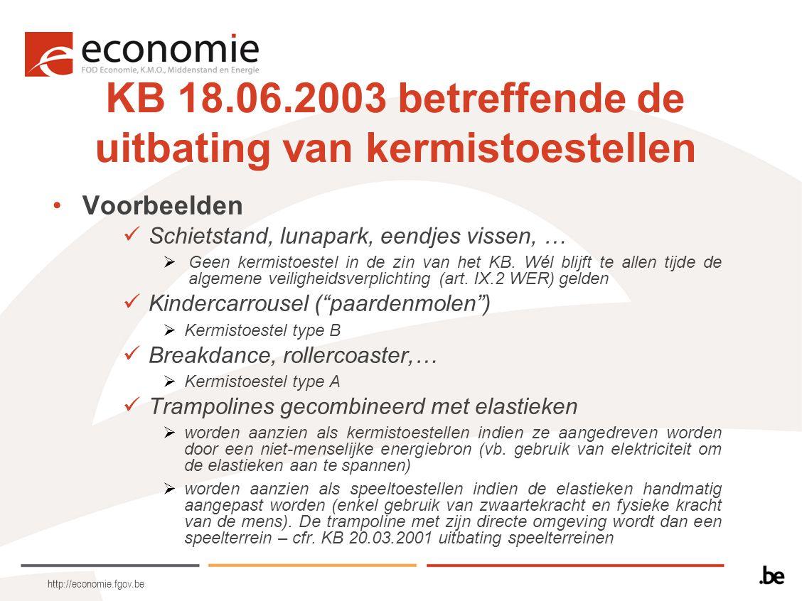 http://economie.fgov.be KB 18.06.2003 betreffende de uitbating van kermistoestellen Voorbeelden Schietstand, lunapark, eendjes vissen, …  Geen kermis