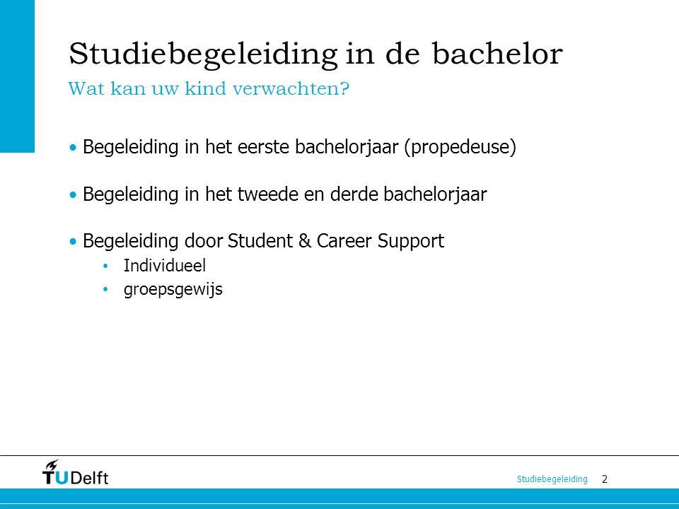 2 Studiebegeleiding in de bachelor Begeleiding in het eerste bachelorjaar (propedeuse) Begeleiding in het tweede en derde bachelorjaar Begeleiding doo