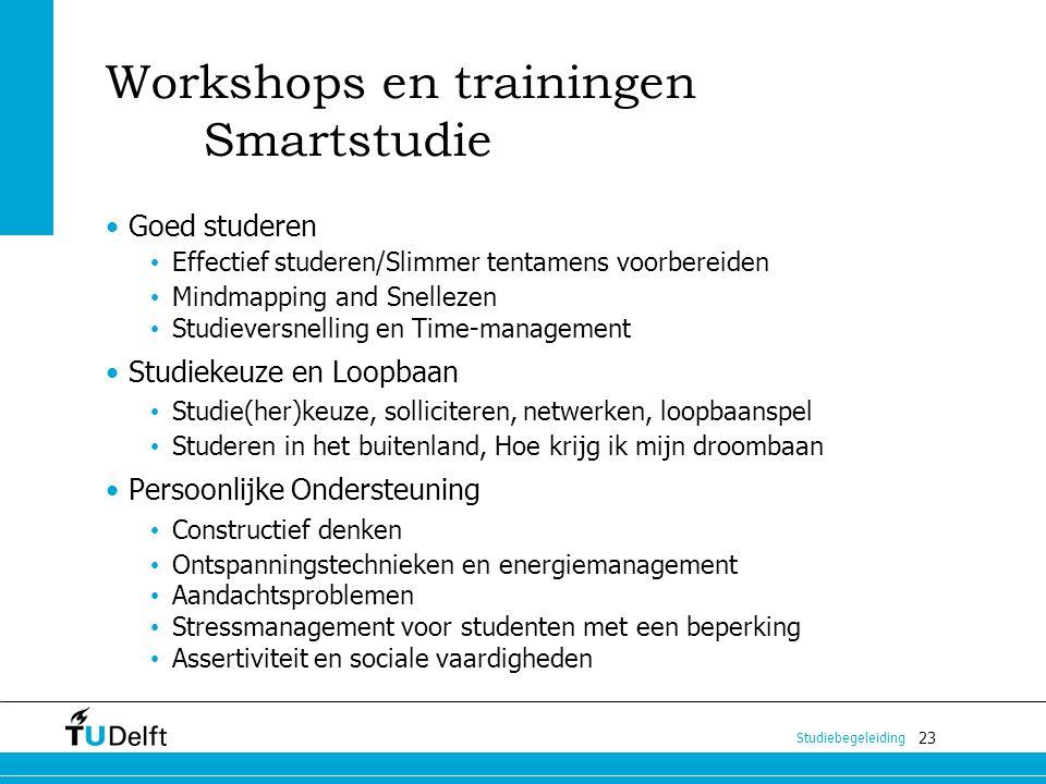 23 Studiebegeleiding Workshops en trainingen Smartstudie Goed studeren Effectief studeren/Slimmer tentamens voorbereiden Mindmapping and Snellezen Stu