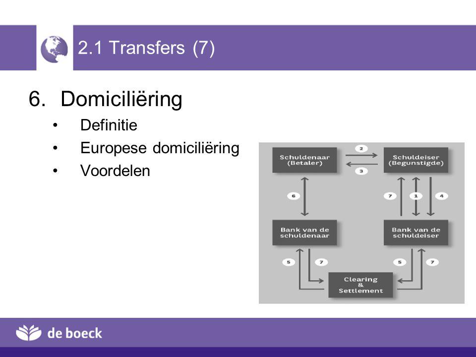 2.1 Transfers (7) 6.Domiciliëring Definitie Europese domiciliëring Voordelen