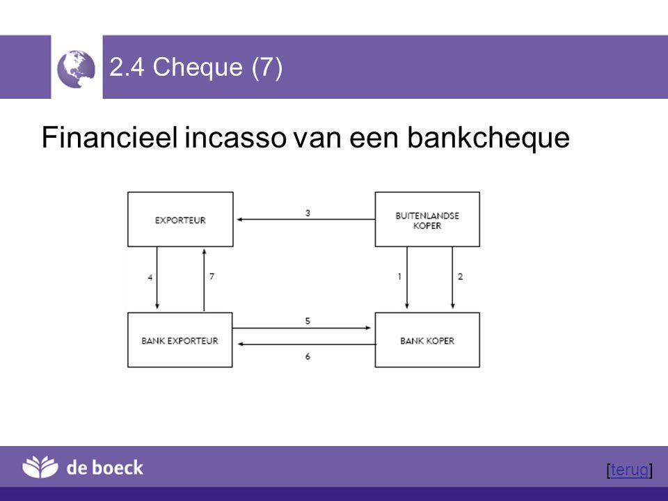 2.4 Cheque (7) Financieel incasso van een bankcheque [terug]terug