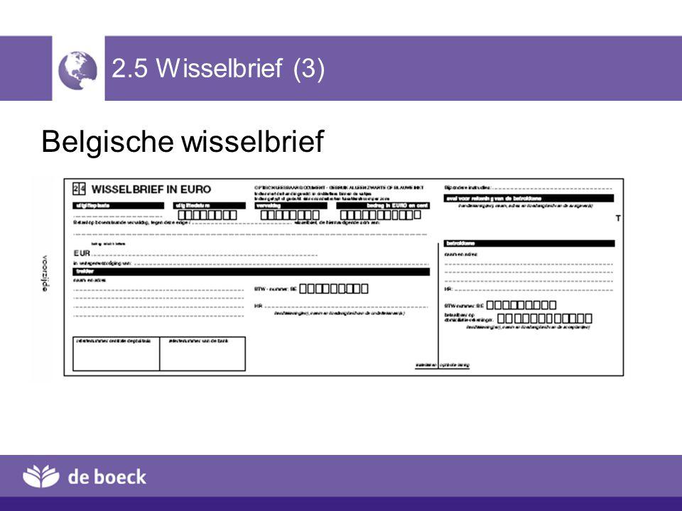2.5 Wisselbrief (3) Belgische wisselbrief