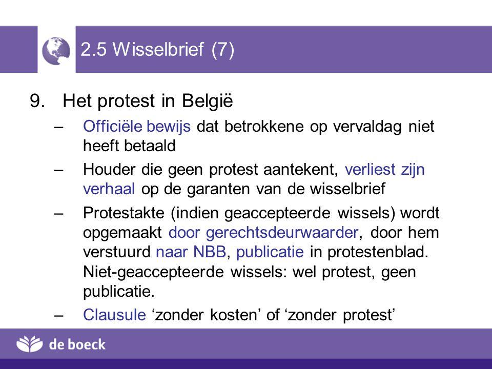 2.5 Wisselbrief (7) 9.Het protest in België –Officiële bewijs dat betrokkene op vervaldag niet heeft betaald –Houder die geen protest aantekent, verli