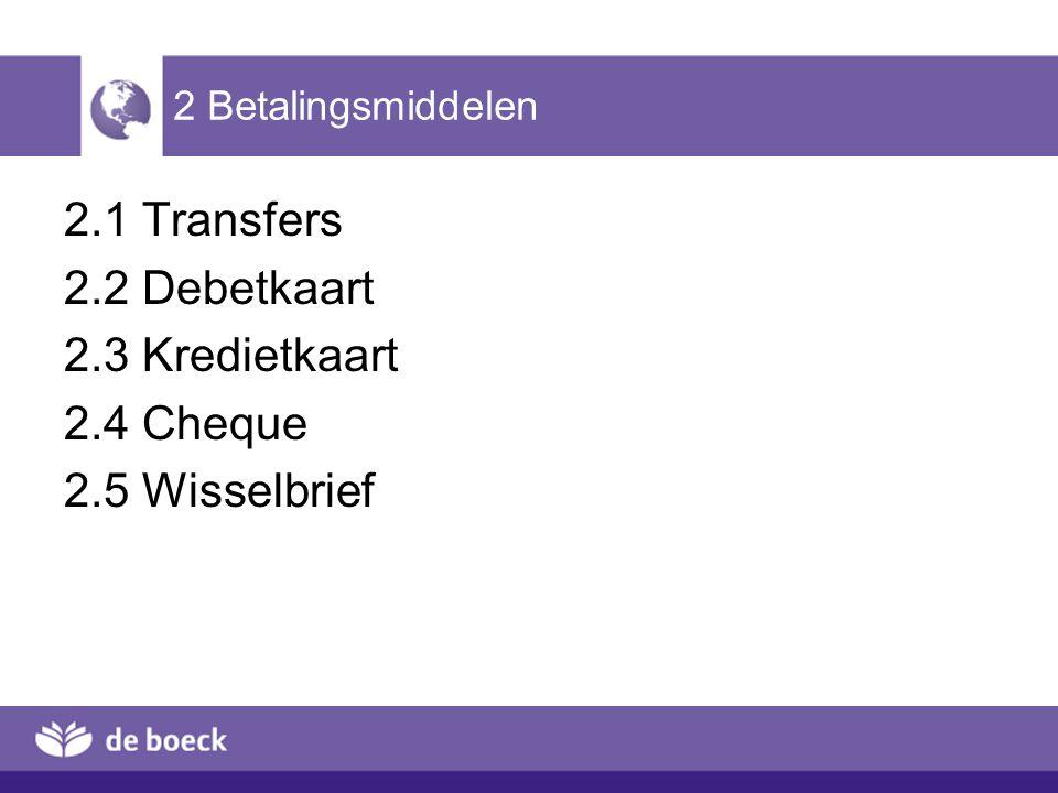 2 Betalingsmiddelen 2.1 Transfers 2.2 Debetkaart 2.3 Kredietkaart 2.4 Cheque 2.5 Wisselbrief