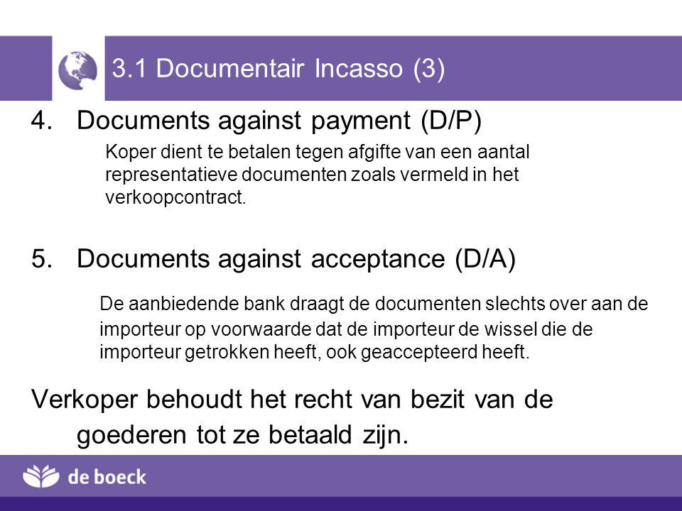 3.1 Documentair Incasso (3) 4.Documents against payment (D/P) Koper dient te betalen tegen afgifte van een aantal representatieve documenten zoals ver