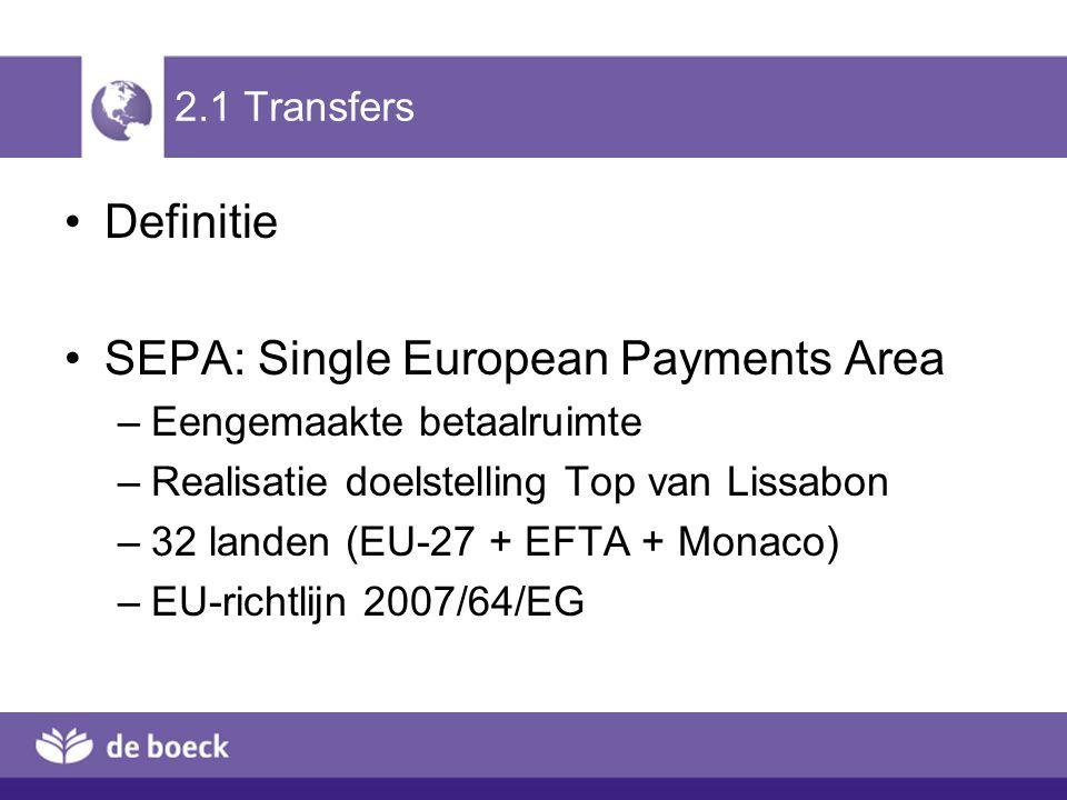 2.1 Transfers Definitie SEPA: Single European Payments Area –Eengemaakte betaalruimte –Realisatie doelstelling Top van Lissabon –32 landen (EU-27 + EF