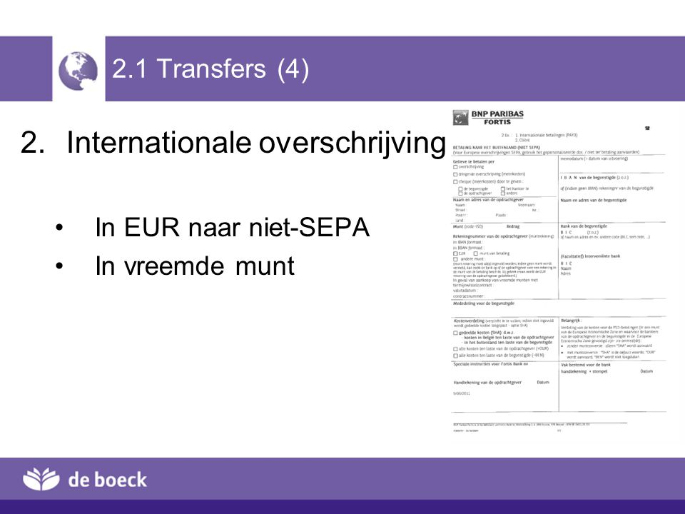 2.4 Cheque (5) Financieel incasso van een internationale zakencheque