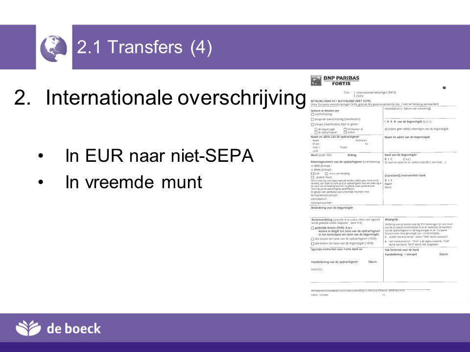 2.1 Transfers (4) 2.Internationale overschrijving In EUR naar niet-SEPA In vreemde munt
