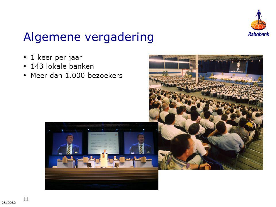 11 2810082 Algemene vergadering 1 keer per jaar 143 lokale banken Meer dan 1.000 bezoekers