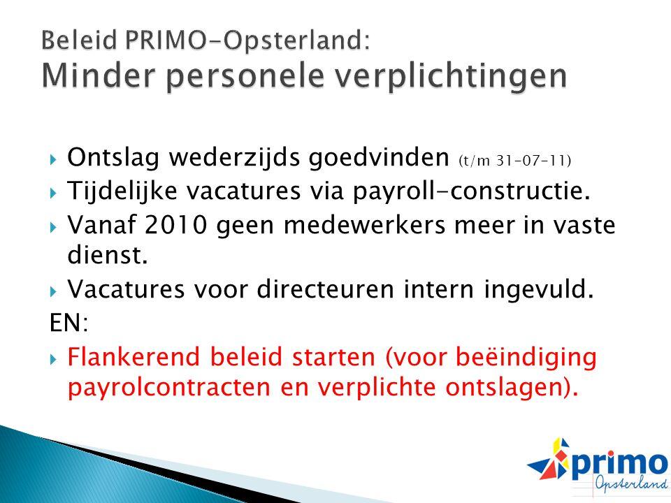  Ontslag wederzijds goedvinden (t/m 31-07-11)  Tijdelijke vacatures via payroll-constructie.  Vanaf 2010 geen medewerkers meer in vaste dienst.  V