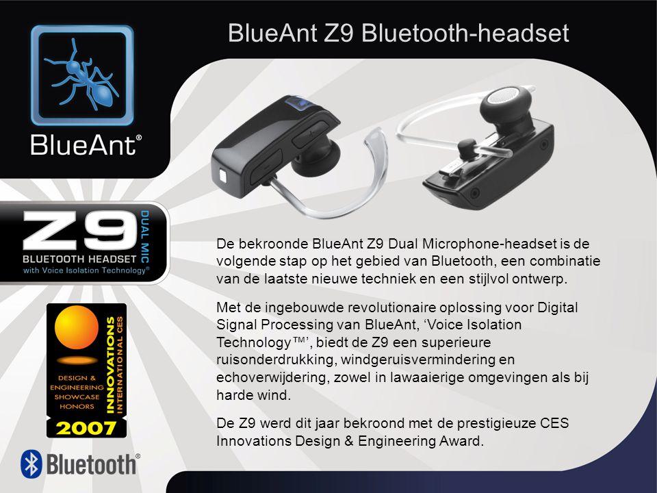 De bekroonde BlueAnt Z9 Dual Microphone-headset is de volgende stap op het gebied van Bluetooth, een combinatie van de laatste nieuwe techniek en een stijlvol ontwerp.