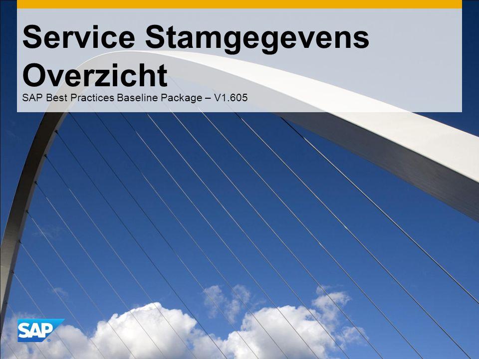 Service Stamgegevens Overzicht SAP Best Practices Baseline Package – V1.605