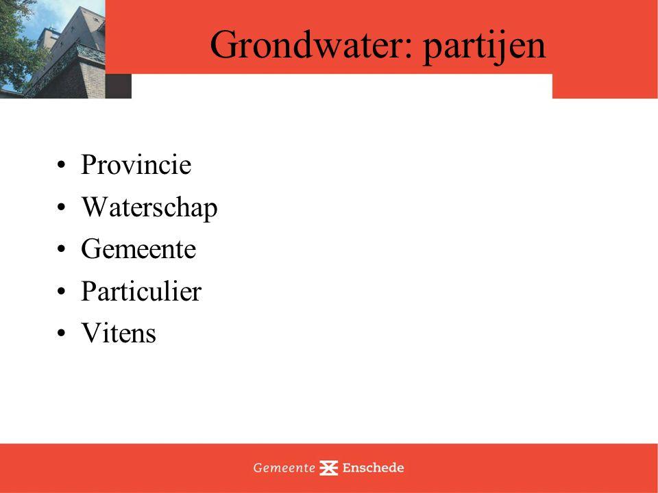 Grondwater: partijen Provincie Waterschap Gemeente Particulier Vitens