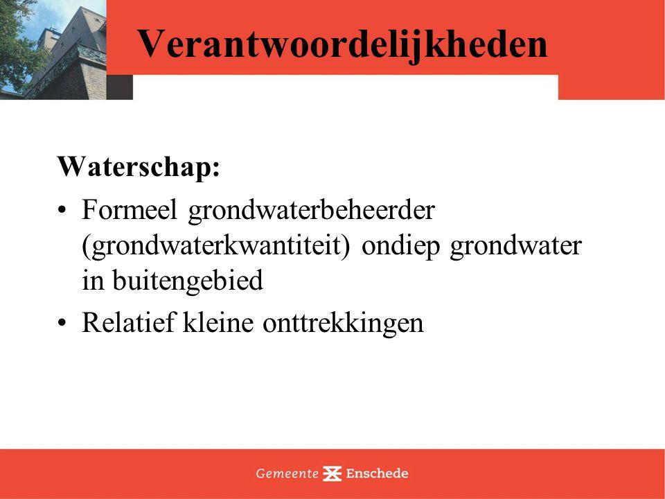 Verantwoordelijkheden Waterschap: Formeel grondwaterbeheerder (grondwaterkwantiteit) ondiep grondwater in buitengebied Relatief kleine onttrekkingen