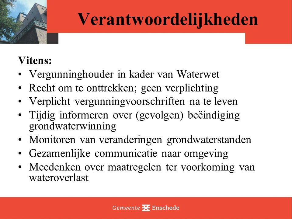 Vervolg Verzamelen en beantwoorden vragen Schrijven plan van aanpak Nadere informatie: –Website Vitens vanaf 14 oktober –Enschede  http://www.enschede.nl/webs/stadsdeelnoord/actueel/ http://www.enschede.nl/webs/stadsdeelnoord/actueel/