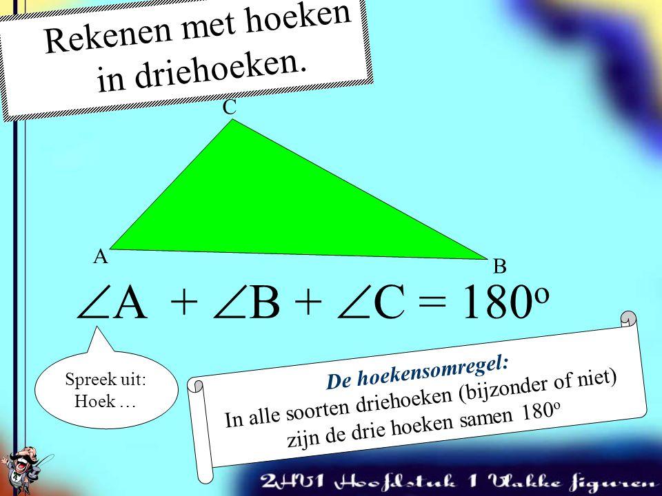 Er bestaan drie soorten bijzondere driehoeken 1.Rechthoekige driehoeken 2.Gelijkbenige driehoeken 3.Gelijkzijdige driehoeken 1 90 o Eigenschap: Er is