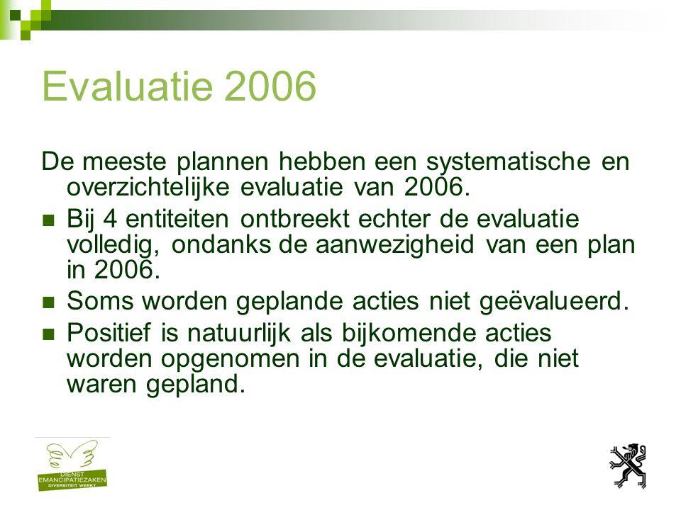 Evaluatie 2006 De meeste plannen hebben een systematische en overzichtelijke evaluatie van 2006.