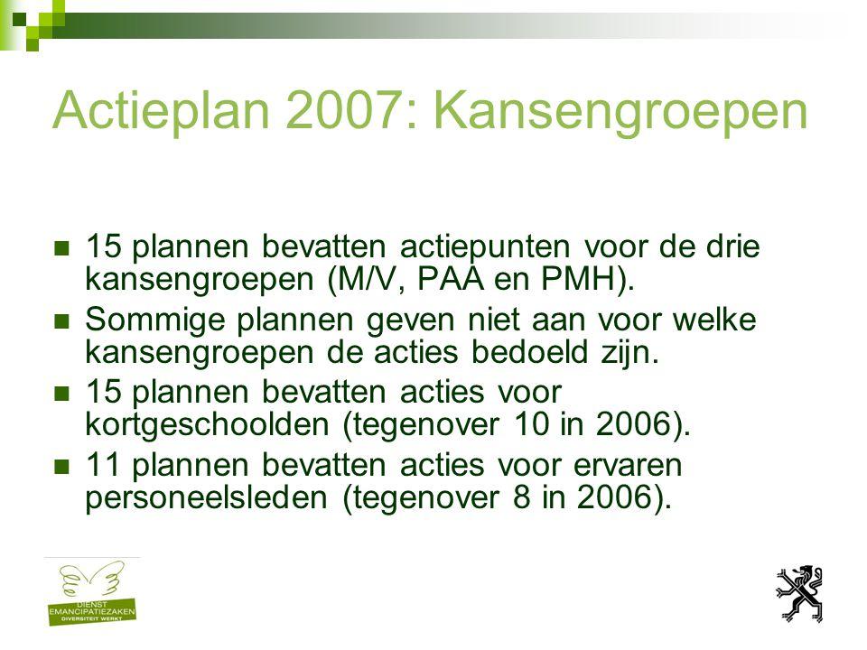 Actieplan 2007: Kansengroepen De meeste plannen bevatten slechts acties voor 1 of 2 kansengroepen.