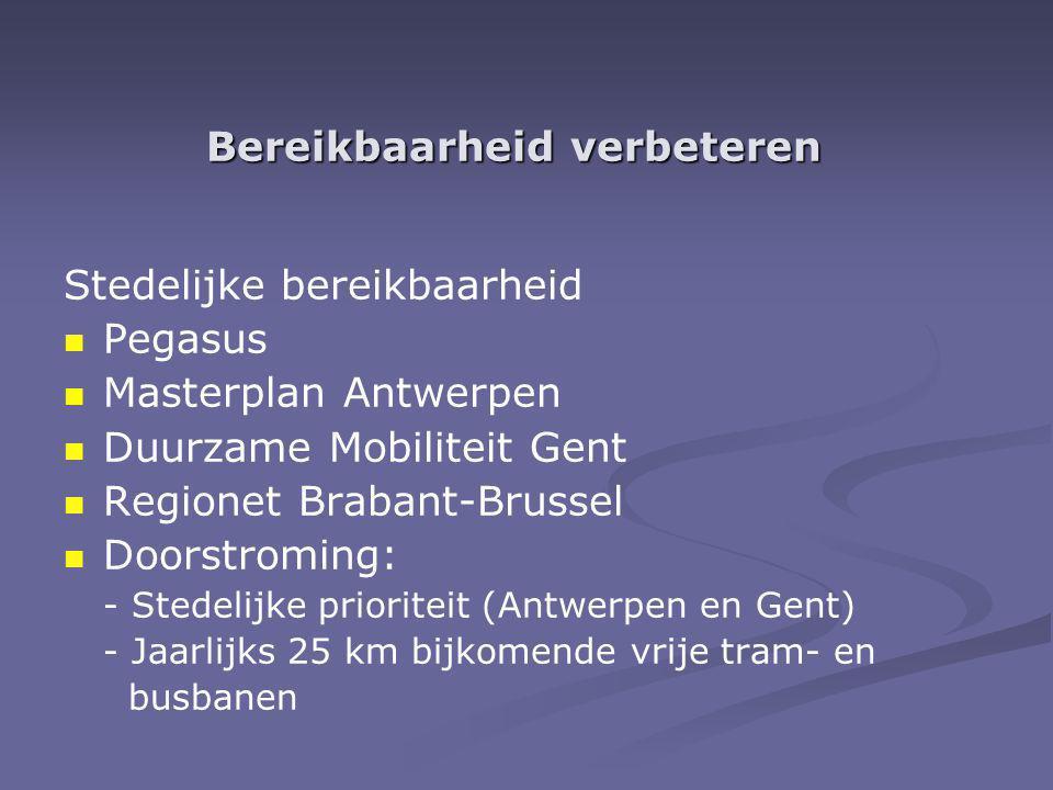Bereikbaarheid verbeteren Stedelijke bereikbaarheid Pegasus Masterplan Antwerpen Duurzame Mobiliteit Gent Regionet Brabant-Brussel Doorstroming: - Stedelijke prioriteit (Antwerpen en Gent) - Jaarlijks 25 km bijkomende vrije tram- en busbanen