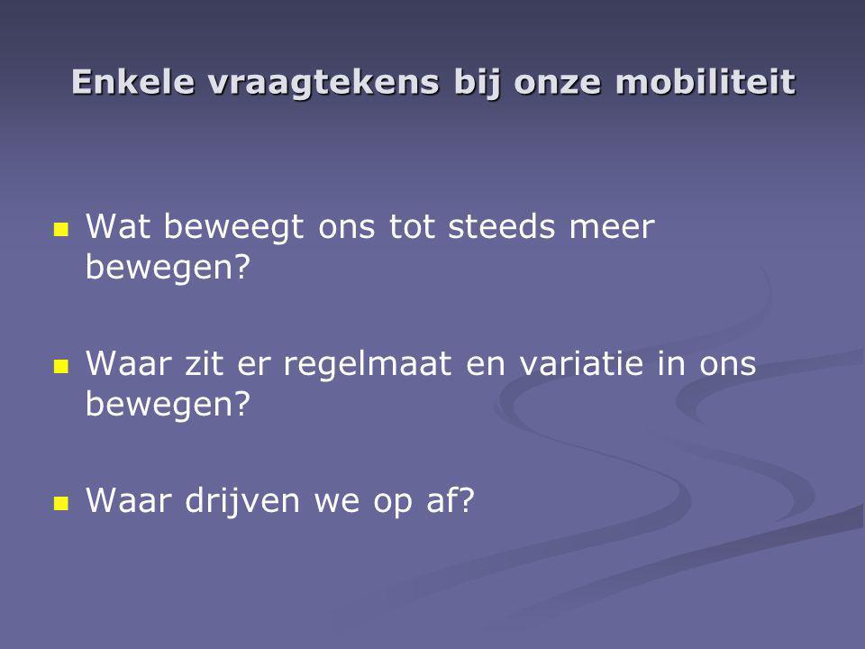 Enkele vraagtekens bij onze mobiliteit Wat beweegt ons tot steeds meer bewegen? Waar zit er regelmaat en variatie in ons bewegen? Waar drijven we op a