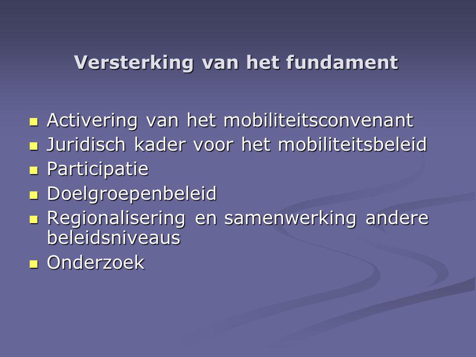 Versterking van het fundament Activering van het mobiliteitsconvenant Activering van het mobiliteitsconvenant Juridisch kader voor het mobiliteitsbeleid Juridisch kader voor het mobiliteitsbeleid Participatie Participatie Doelgroepenbeleid Doelgroepenbeleid Regionalisering en samenwerking andere beleidsniveaus Regionalisering en samenwerking andere beleidsniveaus Onderzoek Onderzoek