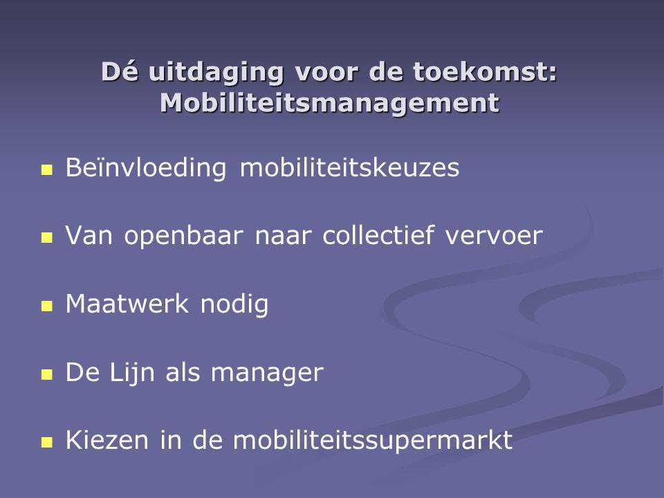 Dé uitdaging voor de toekomst: Mobiliteitsmanagement Beïnvloeding mobiliteitskeuzes Van openbaar naar collectief vervoer Maatwerk nodig De Lijn als manager Kiezen in de mobiliteitssupermarkt