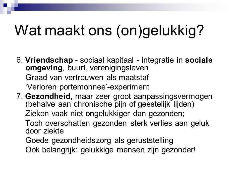 Wat maakt ons (on)gelukkig? 6. Vriendschap - sociaal kapitaal - integratie in sociale omgeving, buurt, verenigingsleven Graad van vertrouwen als maats