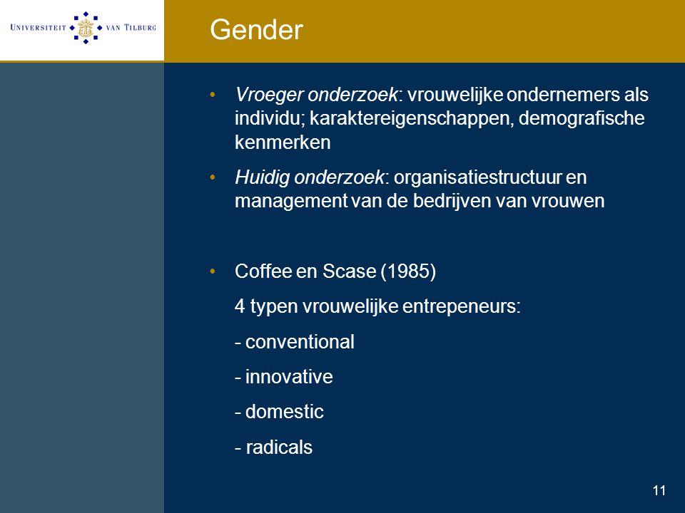 11 Gender Vroeger onderzoek: vrouwelijke ondernemers als individu; karaktereigenschappen, demografische kenmerken Huidig onderzoek: organisatiestructu