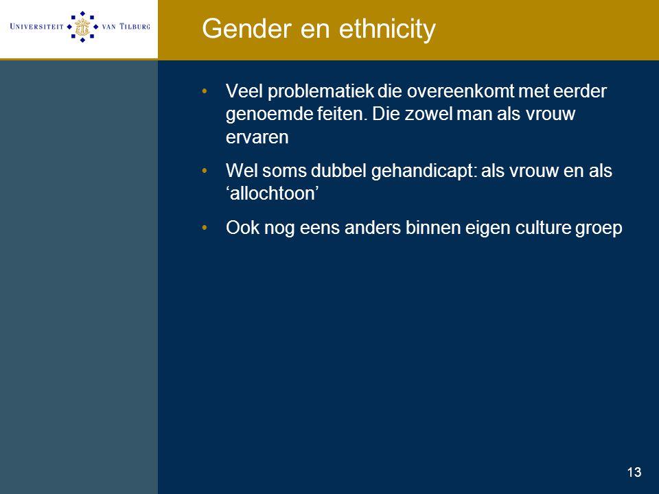 13 Gender en ethnicity Veel problematiek die overeenkomt met eerder genoemde feiten. Die zowel man als vrouw ervaren Wel soms dubbel gehandicapt: als