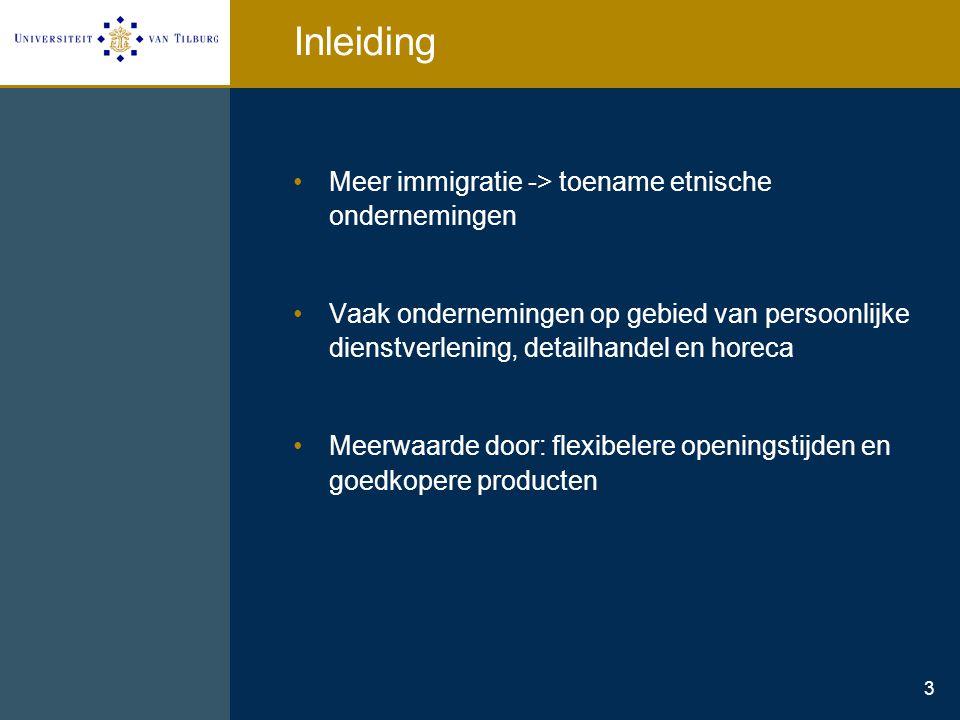 3 Inleiding Meer immigratie -> toename etnische ondernemingen Vaak ondernemingen op gebied van persoonlijke dienstverlening, detailhandel en horeca Me